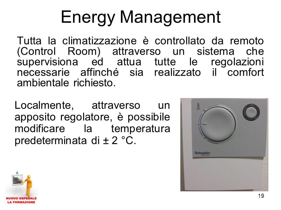 19 Energy Management Tutta la climatizzazione è controllato da remoto (Control Room) attraverso un sistema che supervisiona ed attua tutte le regolazi