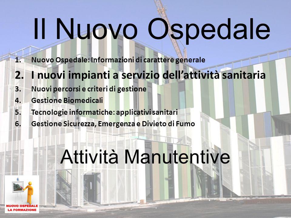 Attività Manutentive Il Nuovo Ospedale 1.Nuovo Ospedale: Informazioni di carattere generale 2.I nuovi impianti a servizio dell'attività sanitaria 3.Nu