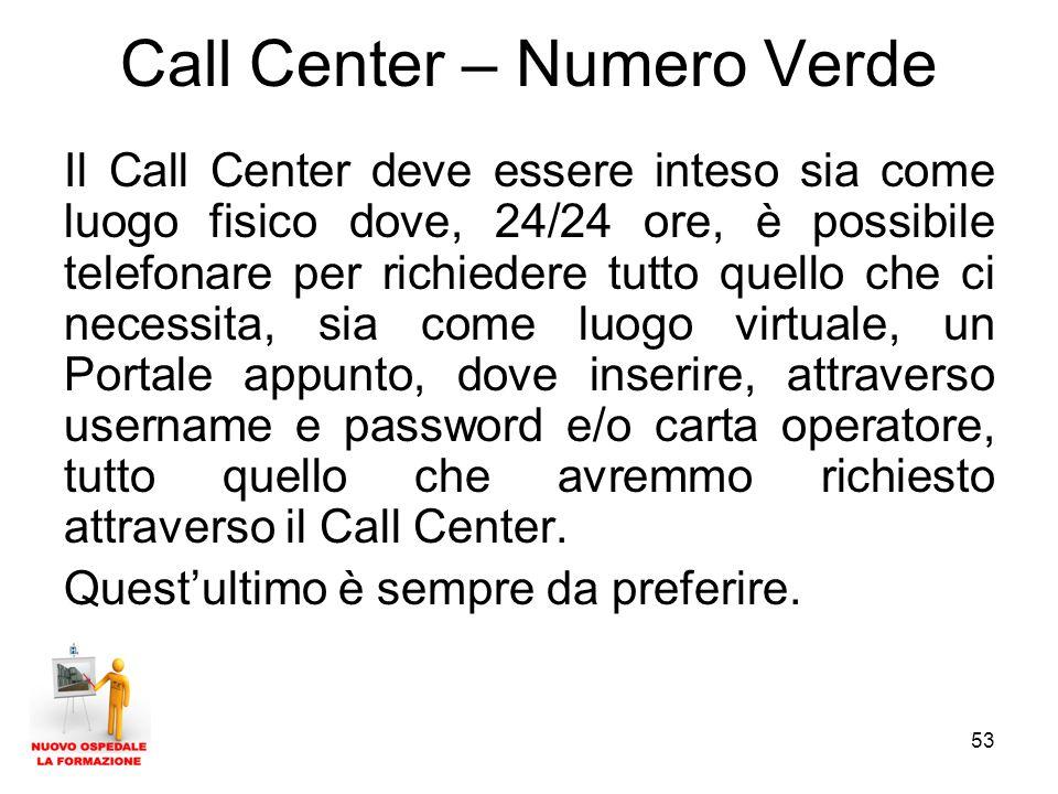 53 Call Center – Numero Verde Il Call Center deve essere inteso sia come luogo fisico dove, 24/24 ore, è possibile telefonare per richiedere tutto quello che ci necessita, sia come luogo virtuale, un Portale appunto, dove inserire, attraverso username e password e/o carta operatore, tutto quello che avremmo richiesto attraverso il Call Center.