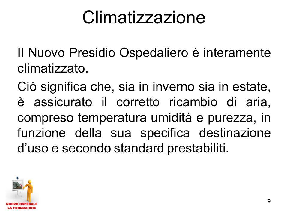9 Climatizzazione Il Nuovo Presidio Ospedaliero è interamente climatizzato.