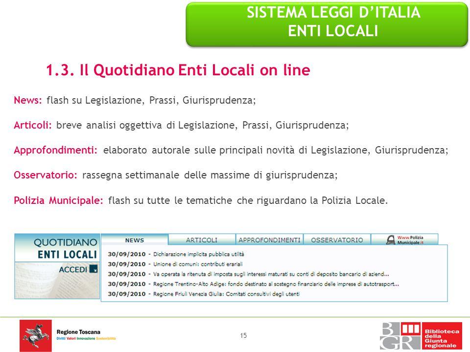 1.3. Il Quotidiano Enti Locali on line News: flash su Legislazione, Prassi, Giurisprudenza; Articoli: breve analisi oggettiva di Legislazione, Prassi,