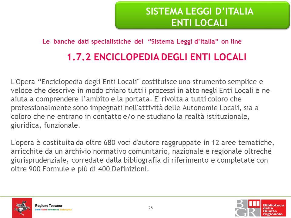 """L'Opera """"Enciclopedia degli Enti Locali"""