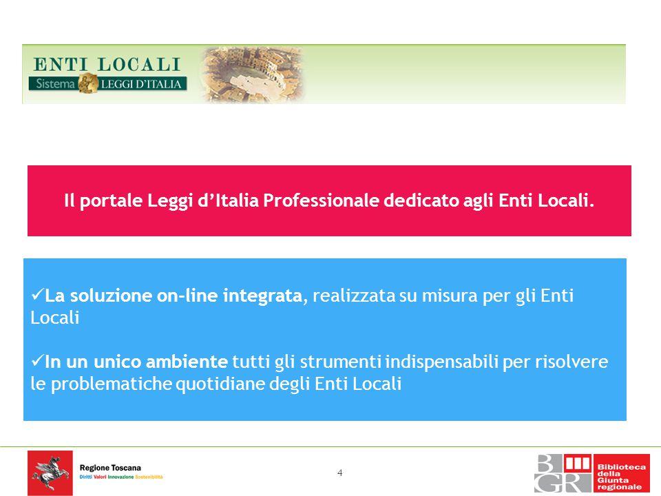 SISTEMA LEGGI D'ITALIA ENTI LOCALI Il portale Leggi d'Italia Professionale dedicato agli Enti Locali. La soluzione on-line integrata, realizzata su mi