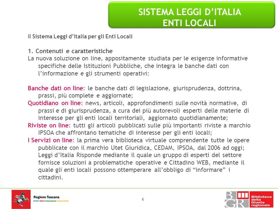 SISTEMA LEGGI D'ITALIA ENTI LOCALI 2.1.
