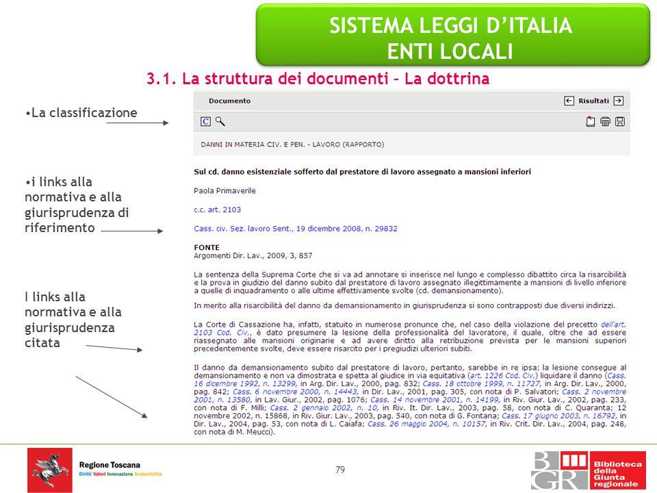 79 La classificazione i links alla normativa e alla giurisprudenza di riferimento I links alla normativa e alla giurisprudenza citata 3.1. La struttur