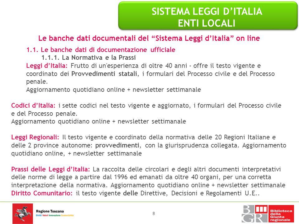 SISTEMA LEGGI D'ITALIA ENTI LOCALI Le banche dati specialistiche del Sistema Leggi d'Italia on line 1.7.12 PRONTUARIO DEGLI ILLECITI AMMINISTRATIVI Le schede illecito 39