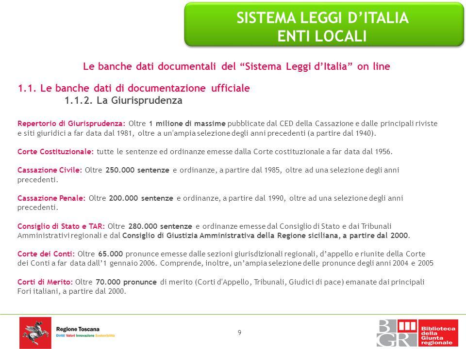 """Le banche dati documentali del """"Sistema Leggi d'Italia"""" on line 1.1. Le banche dati di documentazione ufficiale 1.1.2. La Giurisprudenza Repertorio di"""