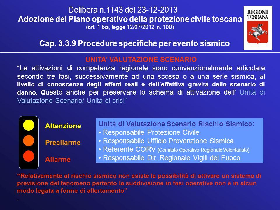 Cap. 3.3.9 Procedure specifiche per evento sismico Delibera n.1143 del 23-12-2013 Adozione del Piano operativo della protezione civile toscana (art. 1
