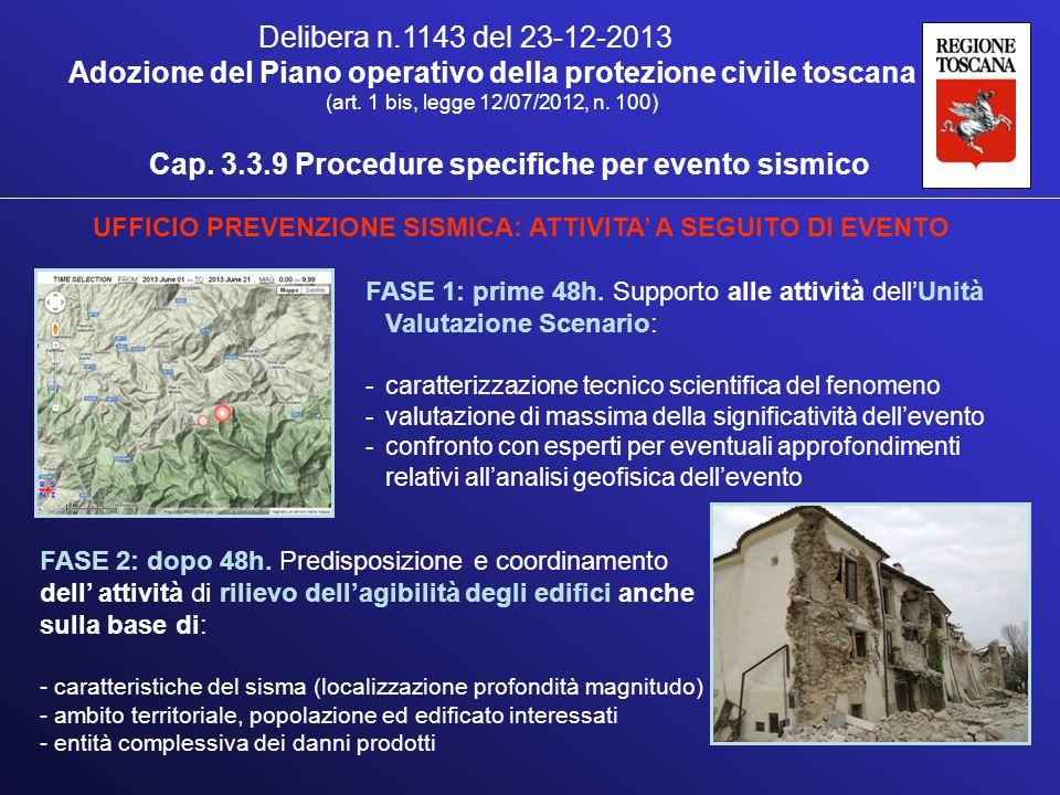 FASE 1: prime 48h. Supporto alle attività dell'Unità Valutazione Scenario: -caratterizzazione tecnico scientifica del fenomeno -valutazione di massima