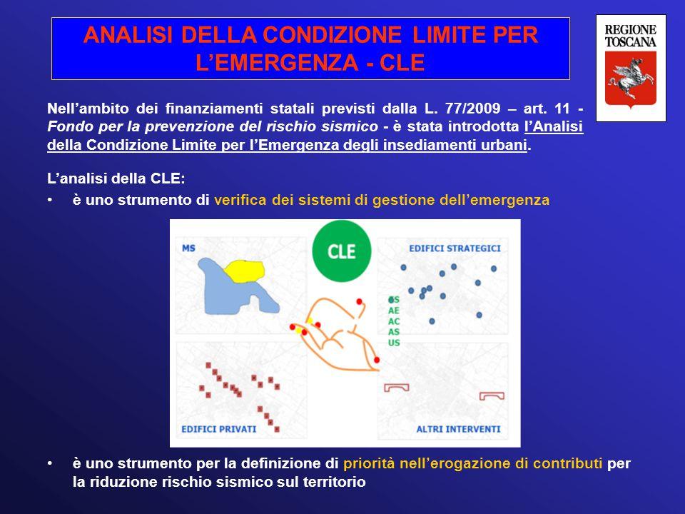 ANALISI DELLA CONDIZIONE LIMITE PER L'EMERGENZA - CLE Nell'ambito dei finanziamenti statali previsti dalla L. 77/2009 – art. 11 - Fondo per la prevenz