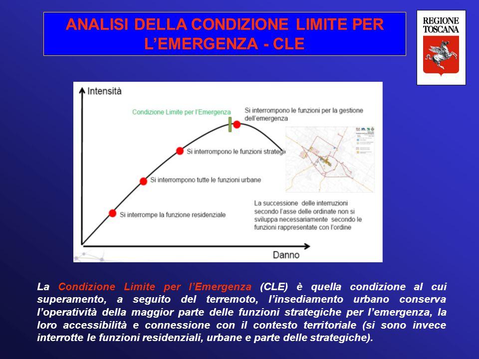 ANALISI DELLA CONDIZIONE LIMITE PER L'EMERGENZA - CLE La Condizione Limite per l'Emergenza (CLE) è quella condizione al cui superamento, a seguito del