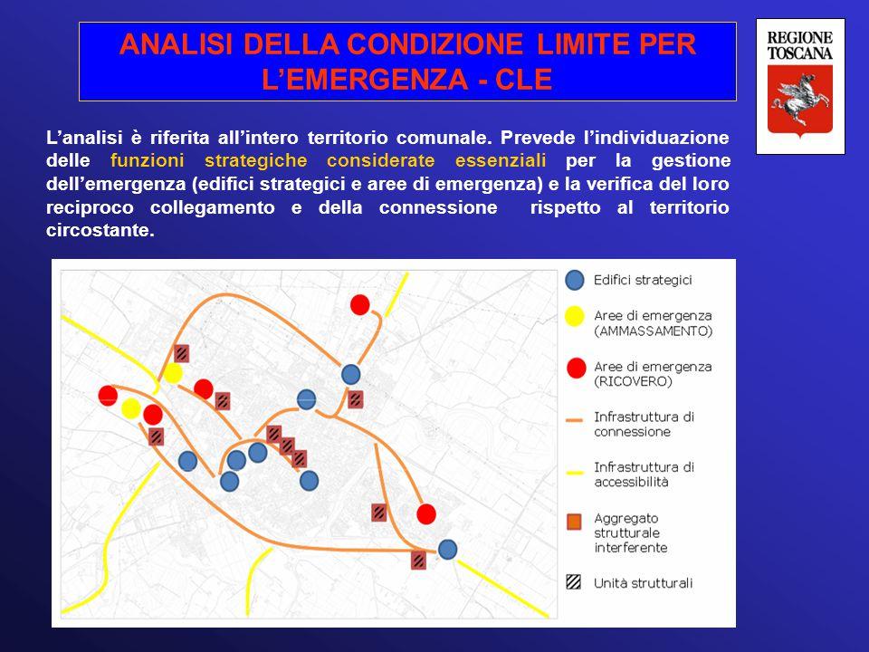 ANALISI DELLA CONDIZIONE LIMITE PER L'EMERGENZA - CLE L'analisi è riferita all'intero territorio comunale. Prevede l'individuazione delle funzioni str