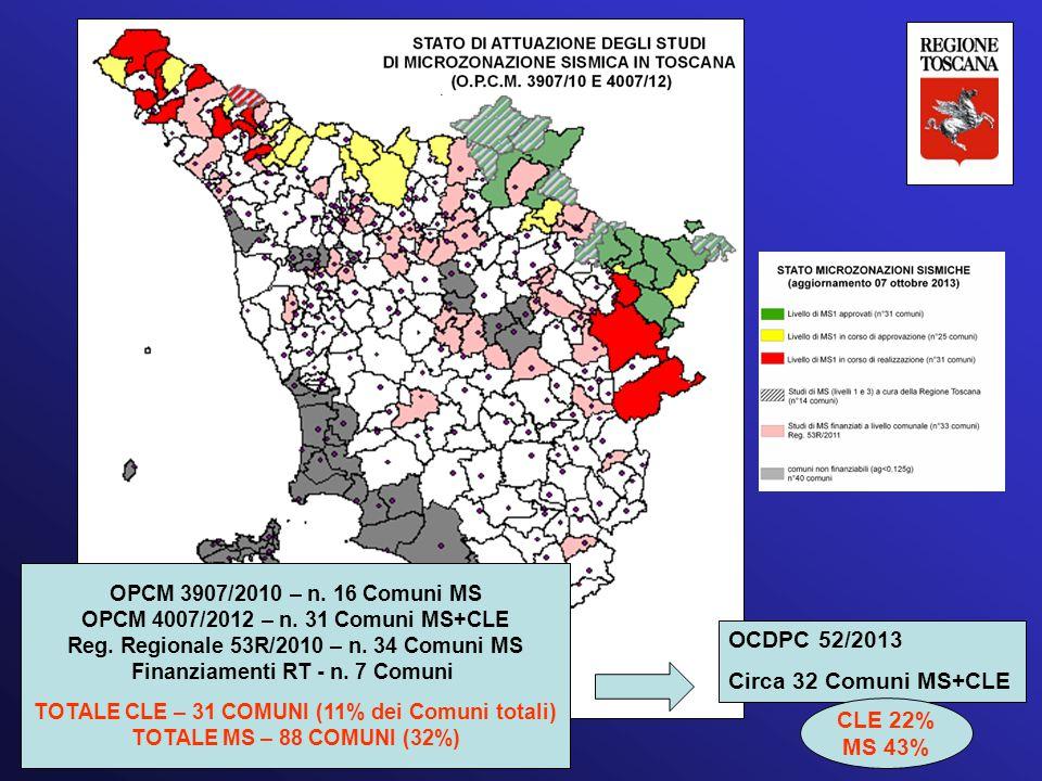 OPCM 3907/2010 – n. 16 Comuni MS OPCM 4007/2012 – n. 31 Comuni MS+CLE Reg. Regionale 53R/2010 – n. 34 Comuni MS Finanziamenti RT - n. 7 Comuni TOTALE