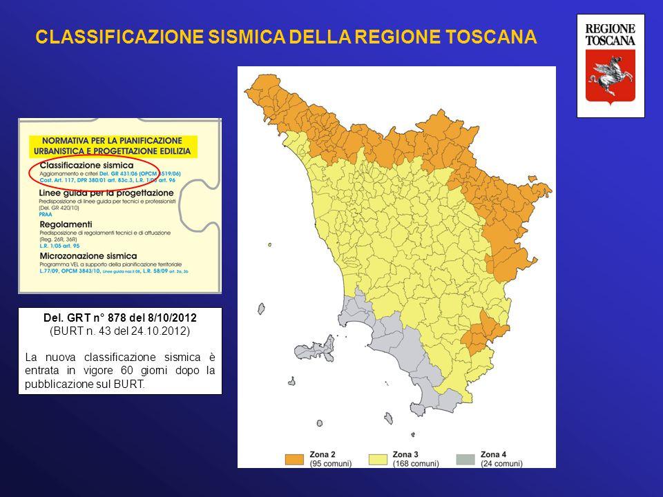 CLASSIFICAZIONE SISMICA DELLA REGIONE TOSCANA Del. GRT n° 878 del 8/10/2012 (BURT n. 43 del 24.10.2012) La nuova classificazione sismica è entrata in