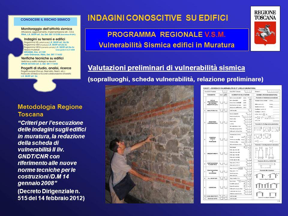 """Valutazioni preliminari di vulnerabilità sismica (sopralluoghi, scheda vulnerabilità, relazione preliminare) Metodologia Regione Toscana """"Criteri per"""
