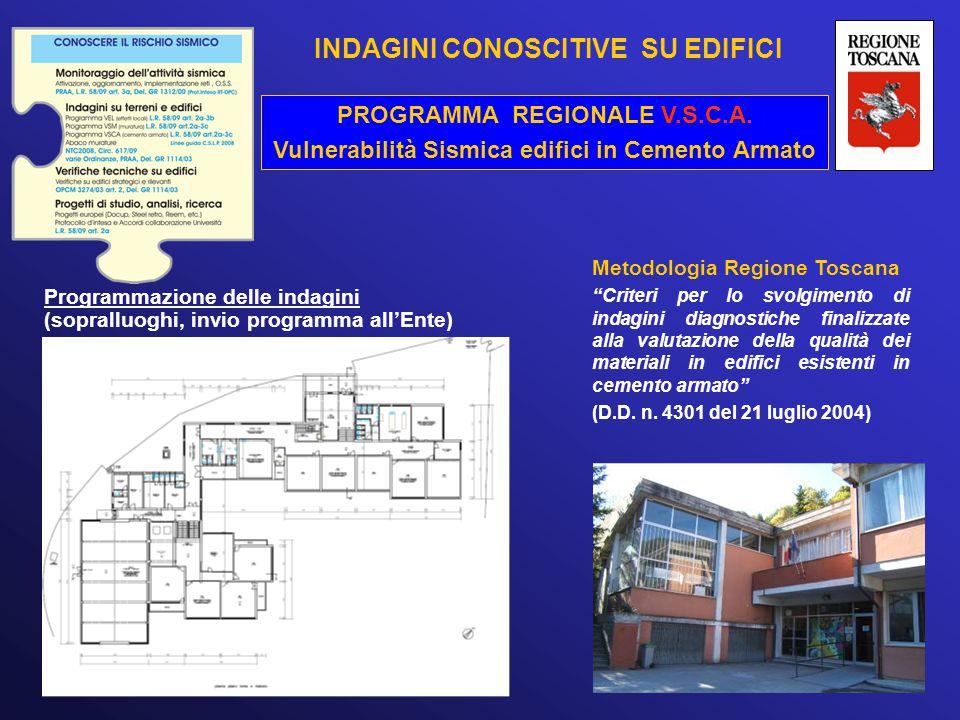 PROGRAMMA REGIONALE V.S.C.A. Vulnerabilità Sismica edifici in Cemento Armato Programmazione delle indagini (sopralluoghi, invio programma all'Ente) Me