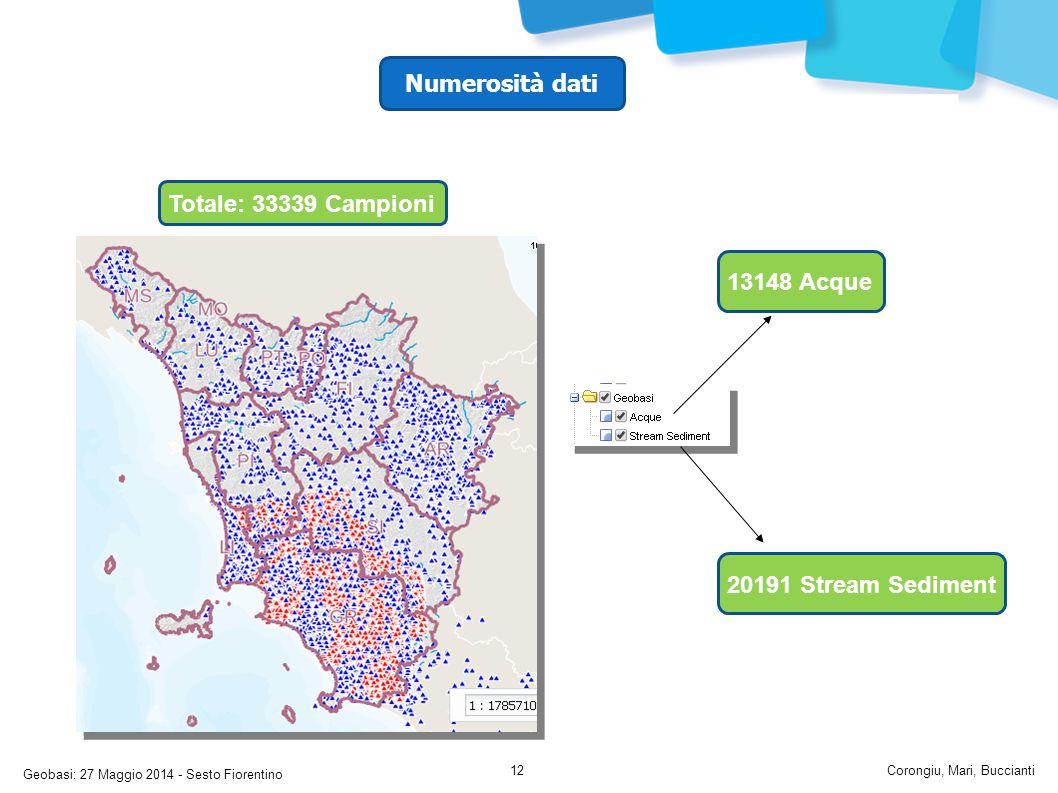 Geobasi: 27 Maggio 2014 - Sesto Fiorentino Corongiu, Mari, Buccianti12 13148 Acque 20191 Stream Sediment Totale: 33339 Campioni Numerosità dati