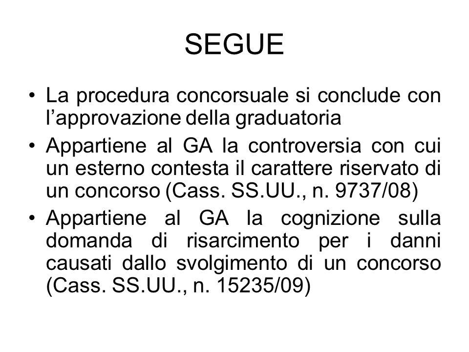 SEGUE La procedura concorsuale si conclude con l'approvazione della graduatoria Appartiene al GA la controversia con cui un esterno contesta il carattere riservato di un concorso (Cass.