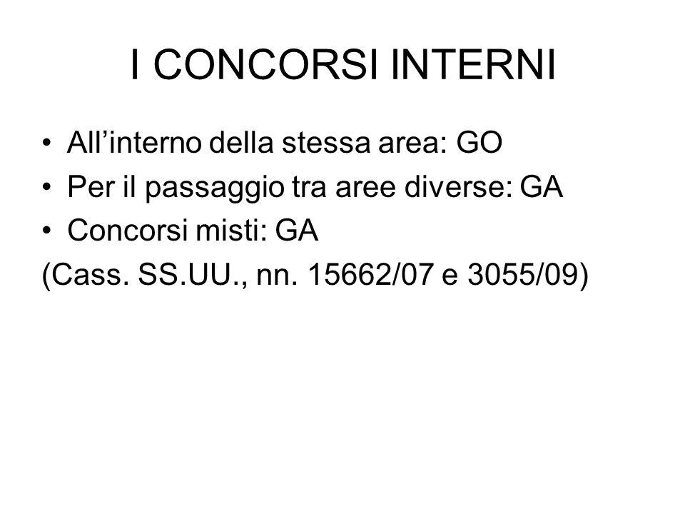 I CONCORSI INTERNI All'interno della stessa area: GO Per il passaggio tra aree diverse: GA Concorsi misti: GA (Cass. SS.UU., nn. 15662/07 e 3055/09)
