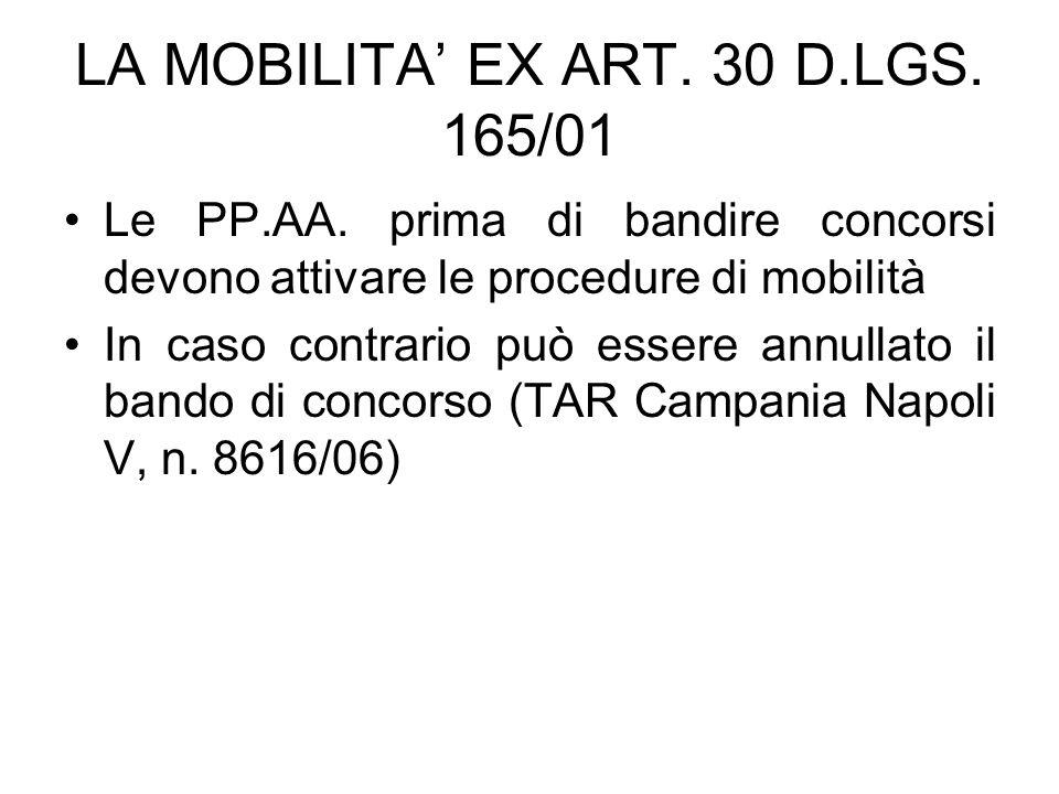 LA MOBILITA' EX ART. 30 D.LGS. 165/01 Le PP.AA. prima di bandire concorsi devono attivare le procedure di mobilità In caso contrario può essere annull