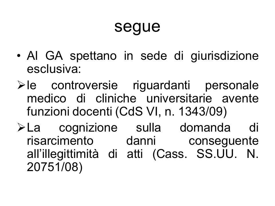 segue Al GA spettano in sede di giurisdizione esclusiva:  le controversie riguardanti personale medico di cliniche universitarie avente funzioni docenti (CdS VI, n.