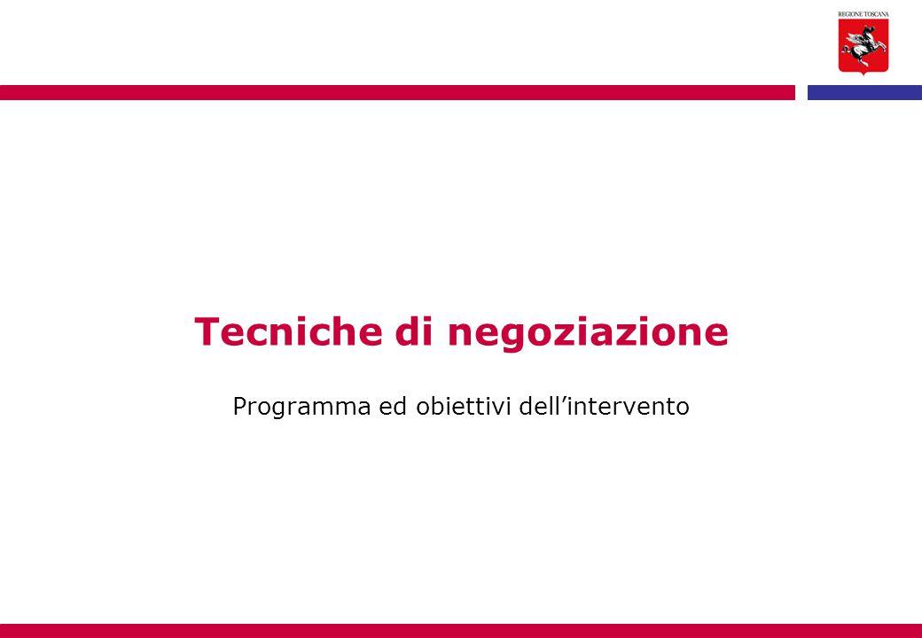 Tecniche di negoziazione Programma ed obiettivi dell'intervento
