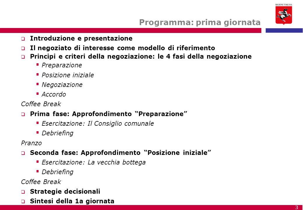 3 Programma: prima giornata  Introduzione e presentazione  Il negoziato di interesse come modello di riferimento  Principi e criteri della negoziaz