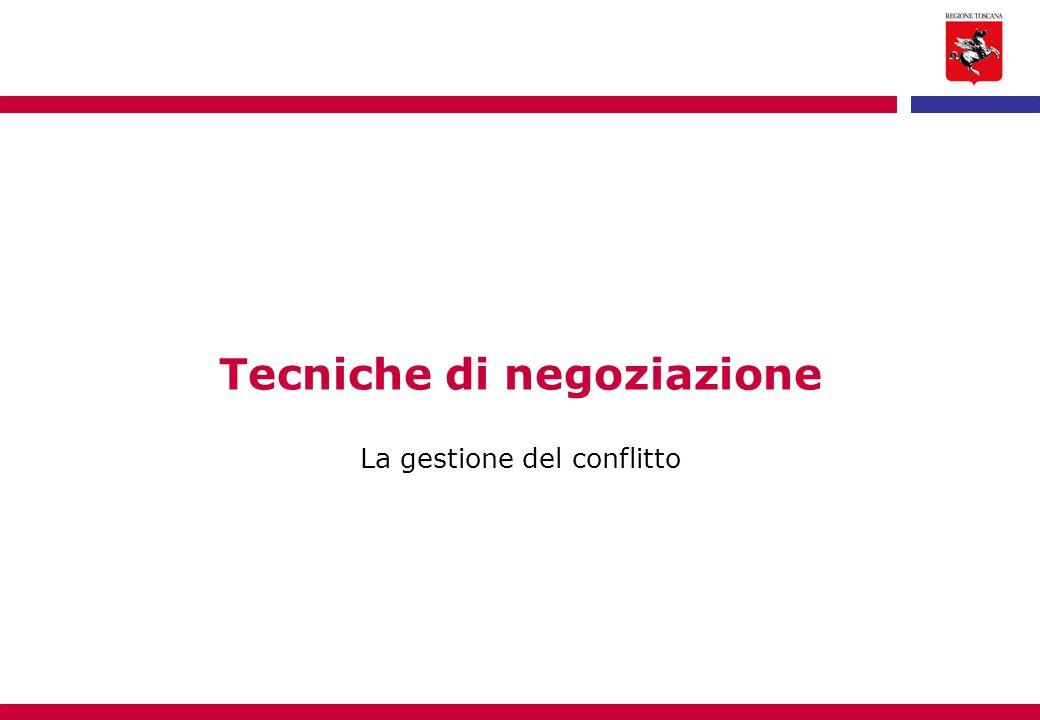 Tecniche di negoziazione La gestione del conflitto