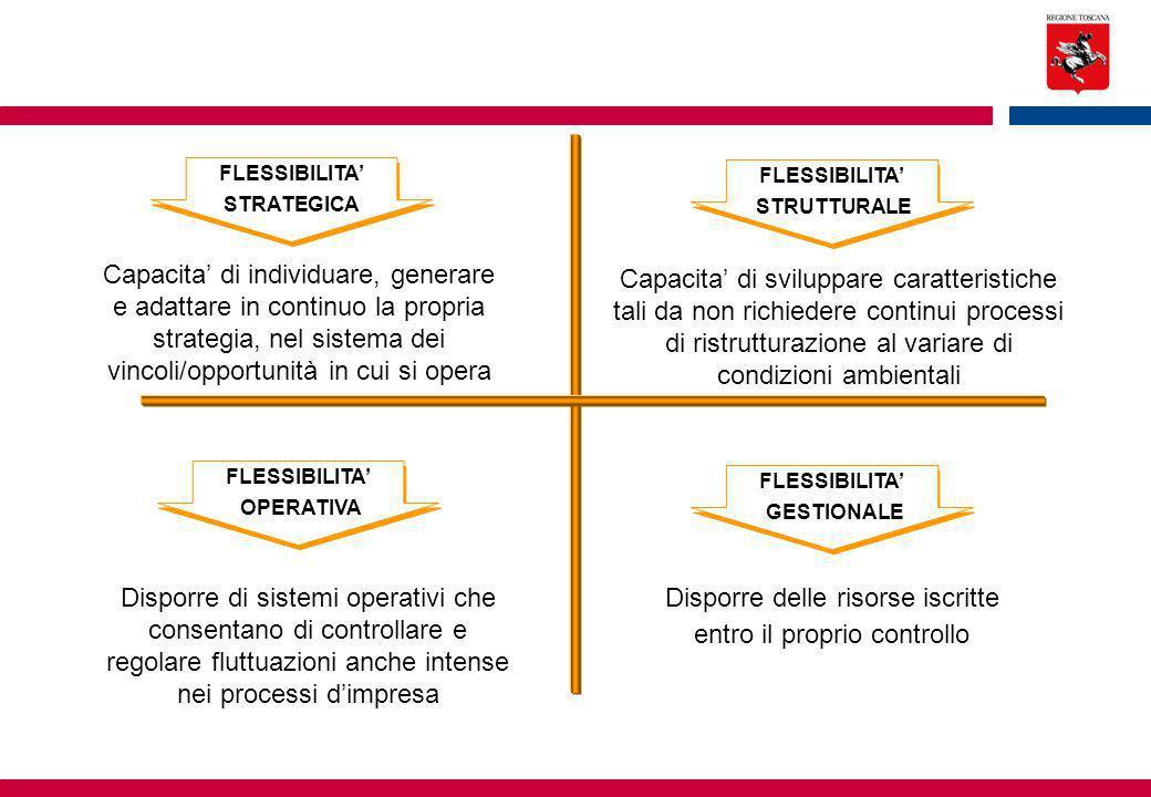 Capacita' di sviluppare caratteristiche tali da non richiedere continui processi di ristrutturazione al variare di condizioni ambientali FLESSIBILITA' STRUTTURALE Capacita' di individuare, generare e adattare in continuo la propria strategia, nel sistema dei vincoli/opportunità in cui si opera FLESSIBILITA' STRATEGICA Disporre di sistemi operativi che consentano di controllare e regolare fluttuazioni anche intense nei processi d'impresa FLESSIBILITA' OPERATIVA Disporre delle risorse iscritte entro il proprio controllo FLESSIBILITA' GESTIONALE