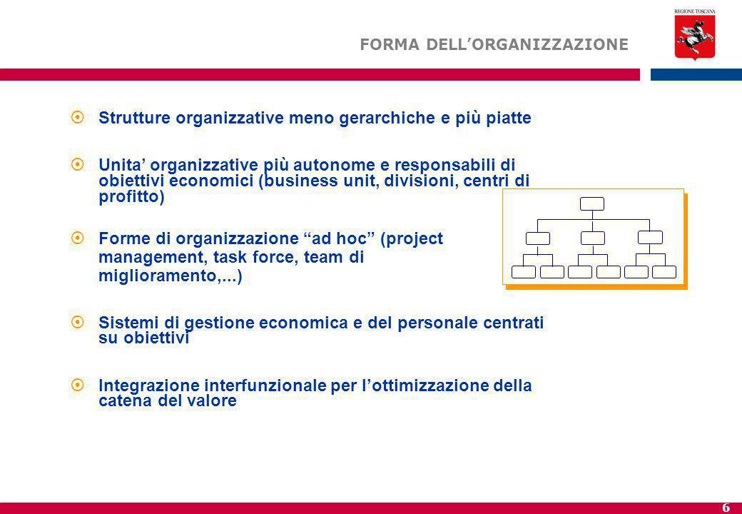 6  Strutture organizzative meno gerarchiche e più piatte  Unita' organizzative più autonome e responsabili di obiettivi economici (business unit, divisioni, centri di profitto)  Forme di organizzazione ad hoc (project management, task force, team di miglioramento,...)  Sistemi di gestione economica e del personale centrati su obiettivi  Integrazione interfunzionale per l'ottimizzazione della catena del valore FORMA DELL'ORGANIZZAZIONE