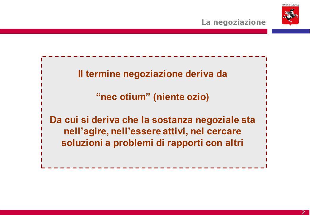 """2 Il termine negoziazione deriva da """"nec otium"""" (niente ozio) Da cui si deriva che la sostanza negoziale sta nell'agire, nell'essere attivi, nel cerca"""