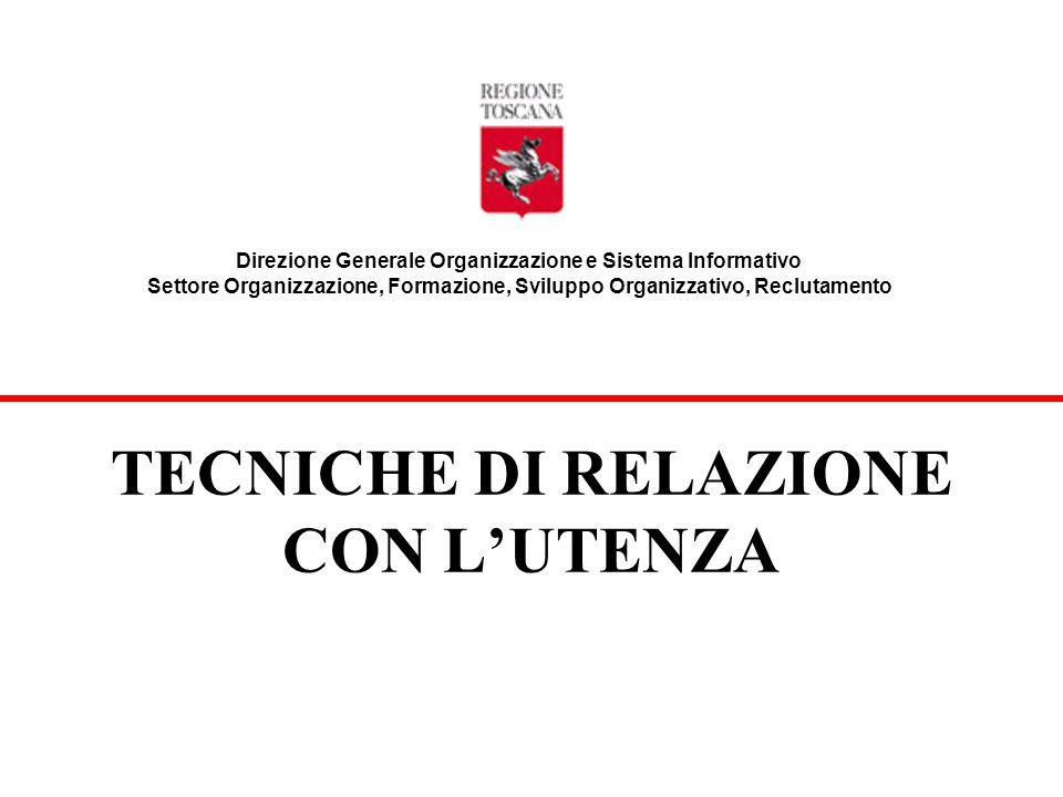 Direzione Generale Organizzazione e Sistema Informativo Settore Organizzazione, Formazione, Sviluppo Organizzativo, Reclutamento TECNICHE DI RELAZIONE CON L'UTENZA