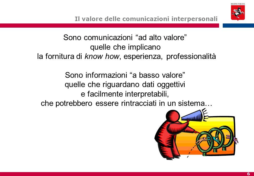 """6 Il valore delle comunicazioni interpersonali Sono comunicazioni """"ad alto valore"""" quelle che implicano la fornitura di know how, esperienza, professi"""