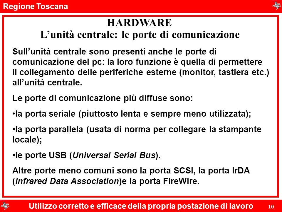 Regione Toscana Utilizzo corretto e efficace della propria postazione di lavoro 10 HARDWARE L'unità centrale: le porte di comunicazione Sull'unità cen