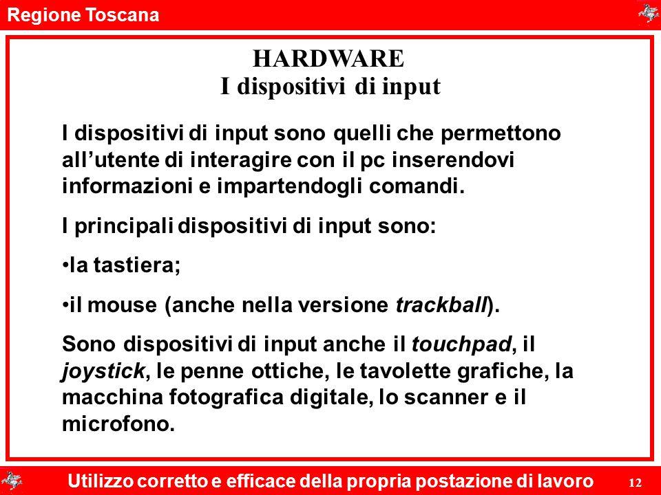 Regione Toscana Utilizzo corretto e efficace della propria postazione di lavoro 12 HARDWARE I dispositivi di input I dispositivi di input sono quelli