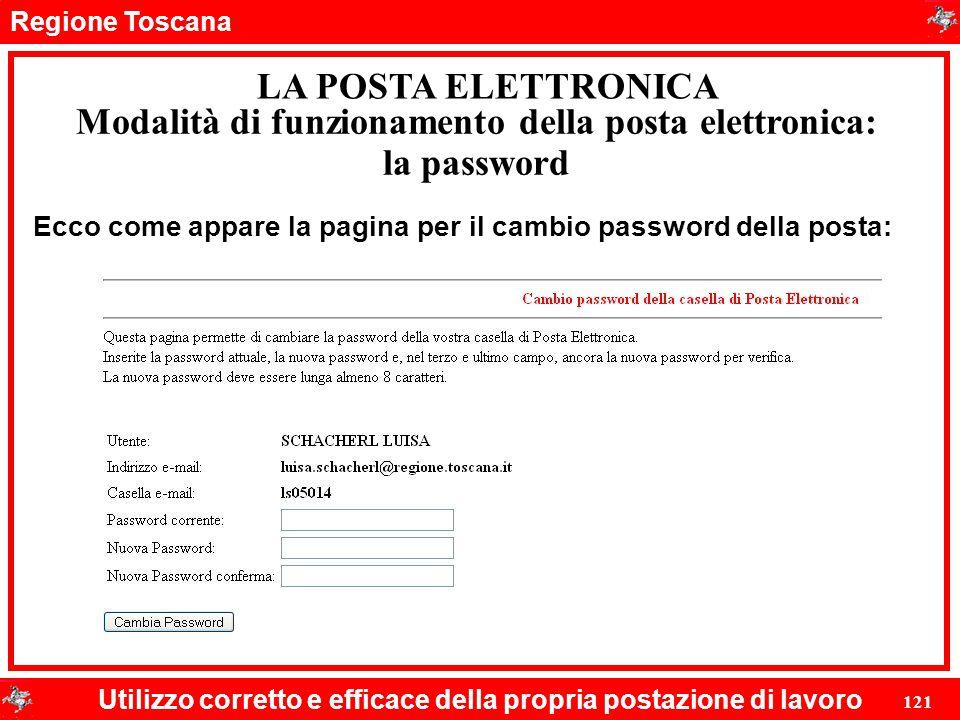 Regione Toscana Utilizzo corretto e efficace della propria postazione di lavoro 121 LA POSTA ELETTRONICA Ecco come appare la pagina per il cambio pass
