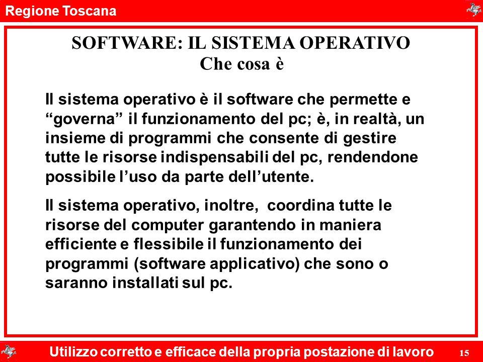 Regione Toscana Utilizzo corretto e efficace della propria postazione di lavoro 15 SOFTWARE: IL SISTEMA OPERATIVO Che cosa è Il sistema operativo è il