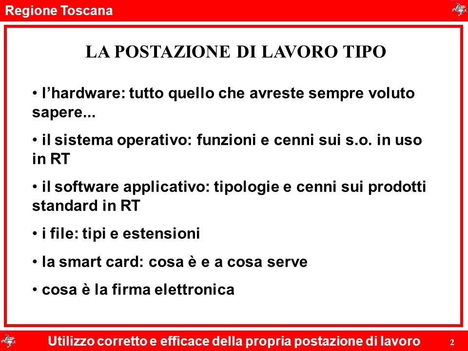 Regione Toscana Utilizzo corretto e efficace della propria postazione di lavoro 2 LA POSTAZIONE DI LAVORO TIPO l'hardware: tutto quello che avreste se