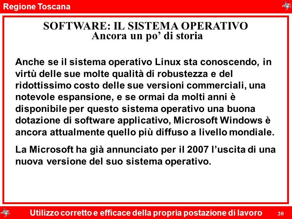 Regione Toscana Utilizzo corretto e efficace della propria postazione di lavoro 20 SOFTWARE: IL SISTEMA OPERATIVO Ancora un po' di storia Anche se il