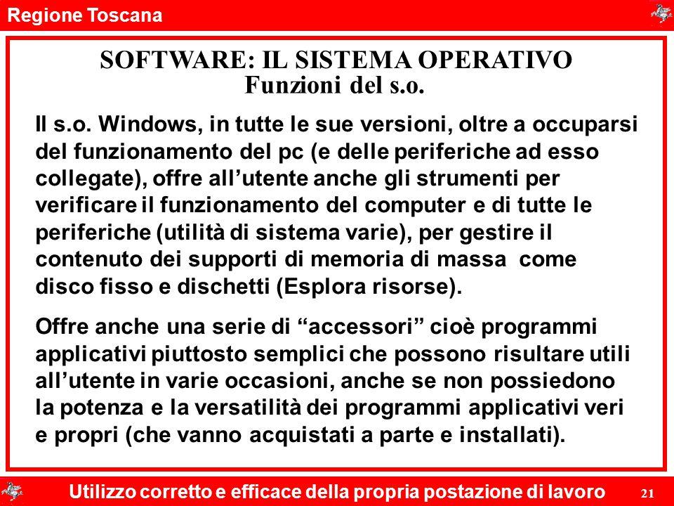 Regione Toscana Utilizzo corretto e efficace della propria postazione di lavoro 21 SOFTWARE: IL SISTEMA OPERATIVO Funzioni del s.o. Il s.o. Windows, i