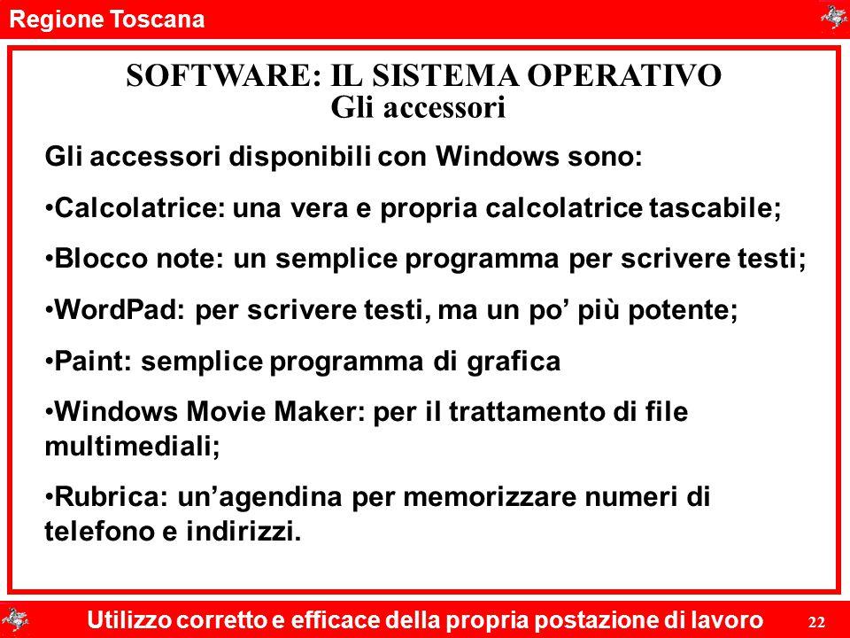 Regione Toscana Utilizzo corretto e efficace della propria postazione di lavoro 22 SOFTWARE: IL SISTEMA OPERATIVO Gli accessori Gli accessori disponib