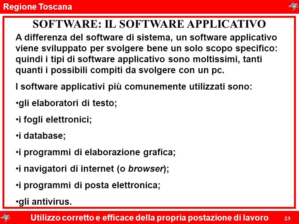 Regione Toscana Utilizzo corretto e efficace della propria postazione di lavoro 23 SOFTWARE: IL SOFTWARE APPLICATIVO A differenza del software di sist