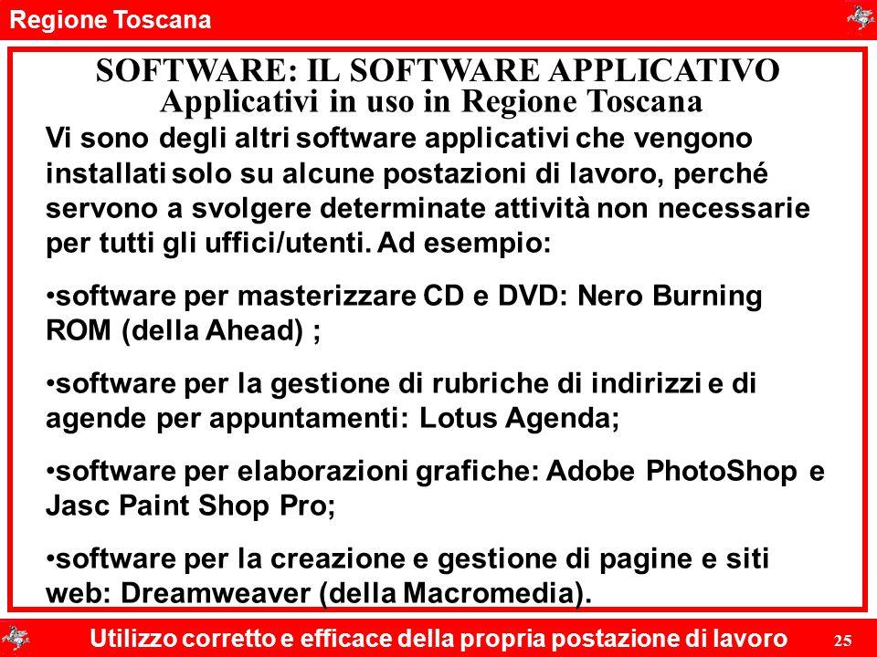 Regione Toscana Utilizzo corretto e efficace della propria postazione di lavoro 25 SOFTWARE: IL SOFTWARE APPLICATIVO Vi sono degli altri software appl