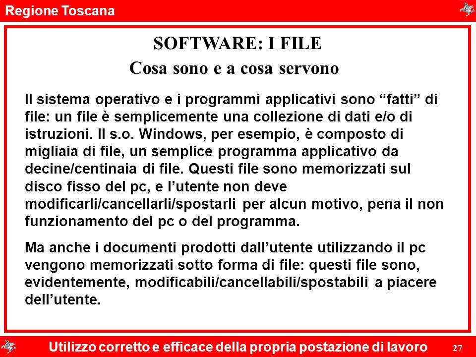 Regione Toscana Utilizzo corretto e efficace della propria postazione di lavoro 27 SOFTWARE: I FILE Il sistema operativo e i programmi applicativi son