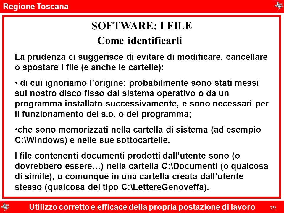 Regione Toscana Utilizzo corretto e efficace della propria postazione di lavoro 29 SOFTWARE: I FILE La prudenza ci suggerisce di evitare di modificare