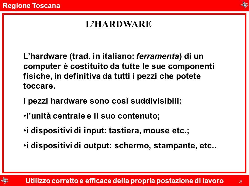 Regione Toscana Utilizzo corretto e efficace della propria postazione di lavoro 3 L'HARDWARE L'hardware (trad. in italiano: ferramenta) di un computer