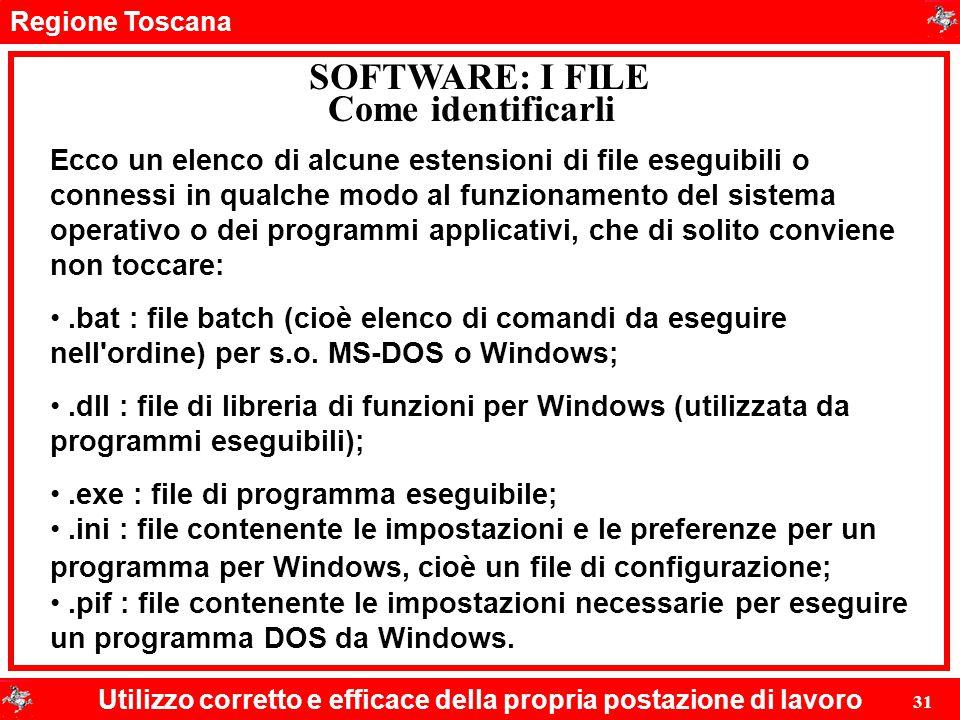 Regione Toscana Utilizzo corretto e efficace della propria postazione di lavoro 31 SOFTWARE: I FILE Ecco un elenco di alcune estensioni di file esegui