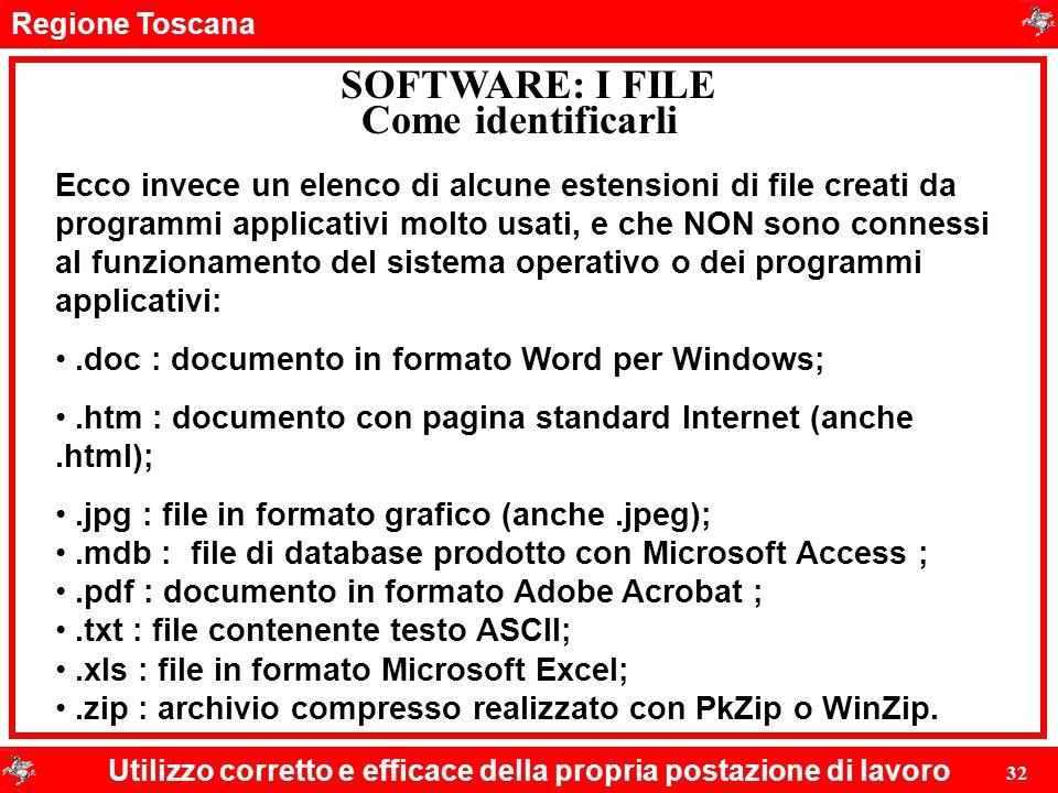 Regione Toscana Utilizzo corretto e efficace della propria postazione di lavoro 32 SOFTWARE: I FILE Ecco invece un elenco di alcune estensioni di file