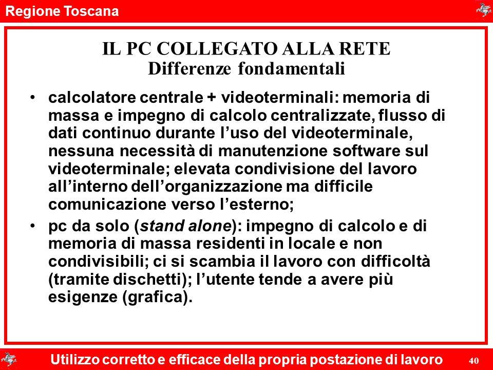 Regione Toscana Utilizzo corretto e efficace della propria postazione di lavoro 40 Differenze fondamentali calcolatore centrale + videoterminali: memo
