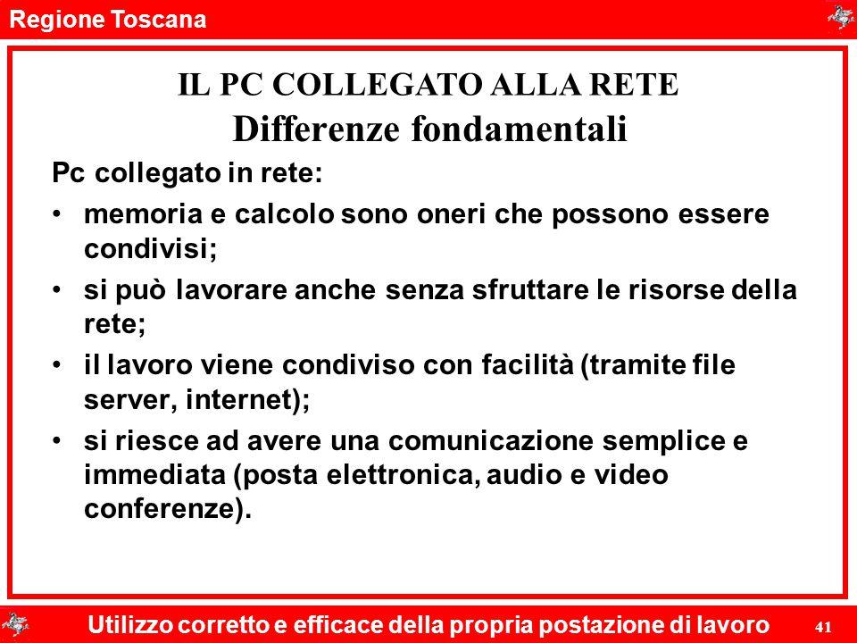 Regione Toscana Utilizzo corretto e efficace della propria postazione di lavoro 41 Differenze fondamentali Pc collegato in rete: memoria e calcolo son